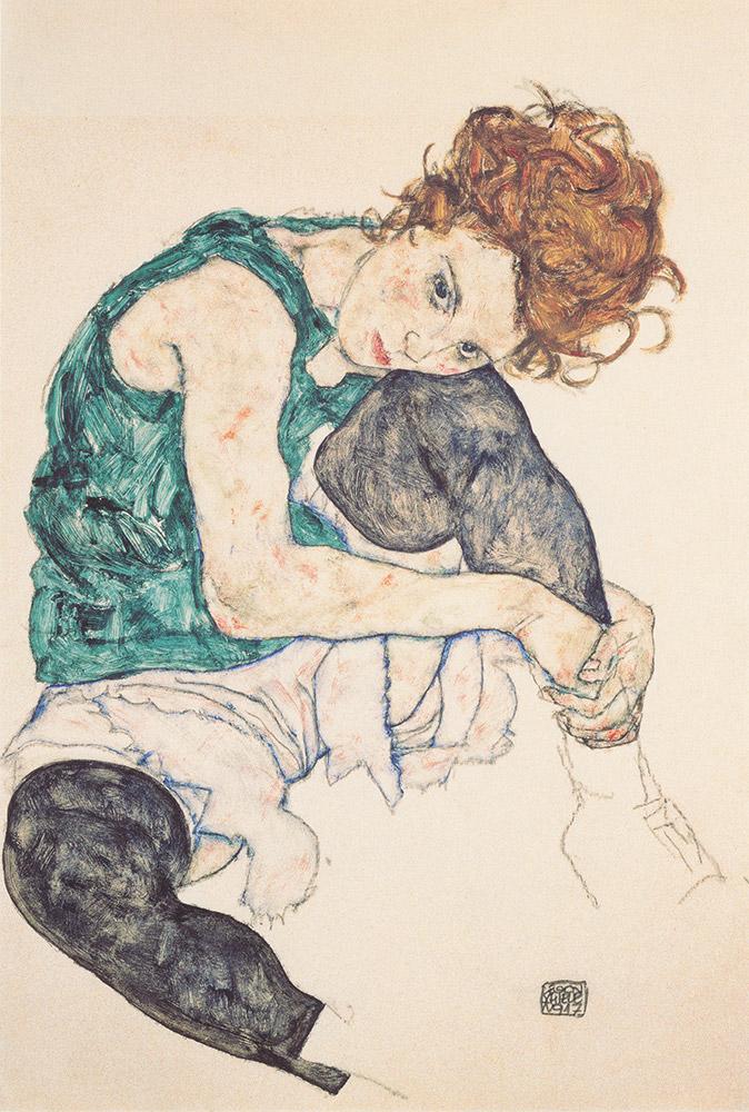 Egon_Schiele-Sitzende_Frau_mit_hochgezogenem_Knie_-_1917